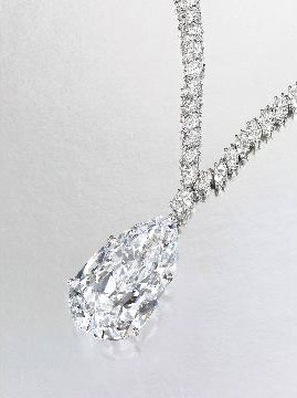 38ct D color, flawless clarity pear-shaped diamond necklace owned by Christina Onassis