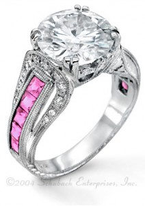 Style 4516 with natural pink sapphire side stones