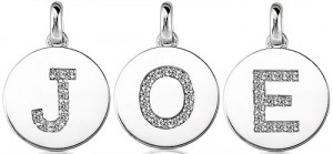 Initial pendants with pave initials and no border