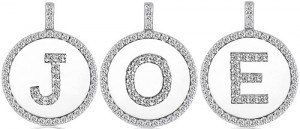 Initial pendants with pave stones and pave initials