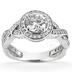 main view of Twisted Shank Engagement Ring With Side Stones