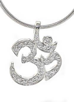 Om Pendant With Pave Set Diamonds