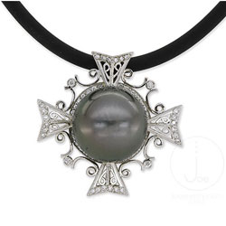 Maltese Cross Diamond And Tahitian Pearl Necklace