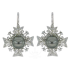 Maltese Cross Earrings with Diamonds and Tahitian Pearls