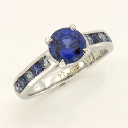 Customsapphirebluediamondengagement