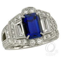 Natural Blue Sapphire and Trapeze Diamond Ring