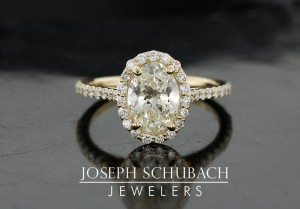 Yellow Gold Oval Halo Micro Pave' Engagement Ring