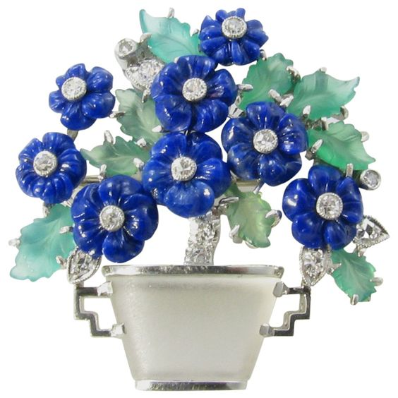 "A Beautiful Emerald, Lapis Lazuli, Rock Crystal and Diamond ""Flower Basket"" Brooch"