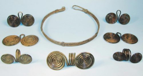 Late Bronze Age European Spiral Torque and Ornaments group of jewelry.