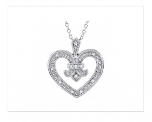 "Style 102798 Sterling silver heart shaped necklace with .06ct t.w. round natural diamonds and milgrained edges, set on an 18"" cable chain."