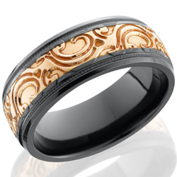 Lashbrook Zirconium 8mm domed band with 4mm Rose Gold inlay with JBA pattern polish