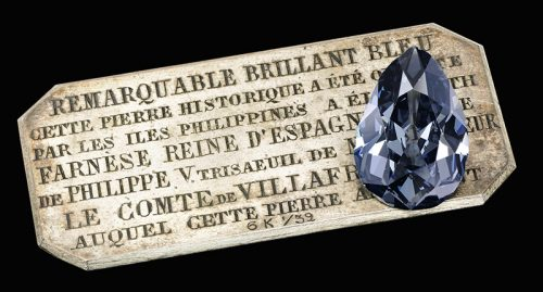 """The Farnese Blue,"" a 6.16-carat pear shaped fancy dark gray-blue diamond."