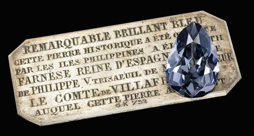 """""""The Farnese Blue,"""" a 6.16-carat pear shaped fancy dark gray-blue diamond."""