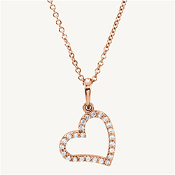 "Romantic diamond heart necklace featuring 1/8ct t.w. of diamonds, includes a 16"" cable chain. Measures approximately 11x18mm. Available in all metals."