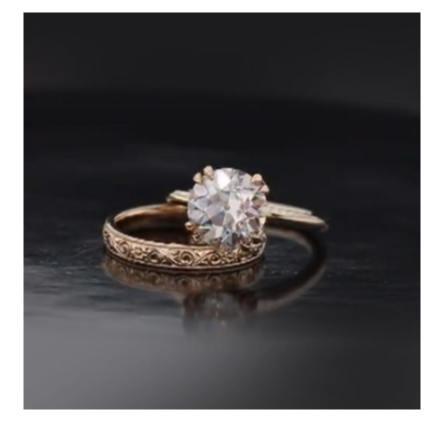 "Barely Pink and Rose Gold Wedding Set A 10mm barely pink OEC moissanite set in a high bench crafted ""Ballerina Solitiare"" with a hand engraved wedding band. Both pieces in 14k rose gold."