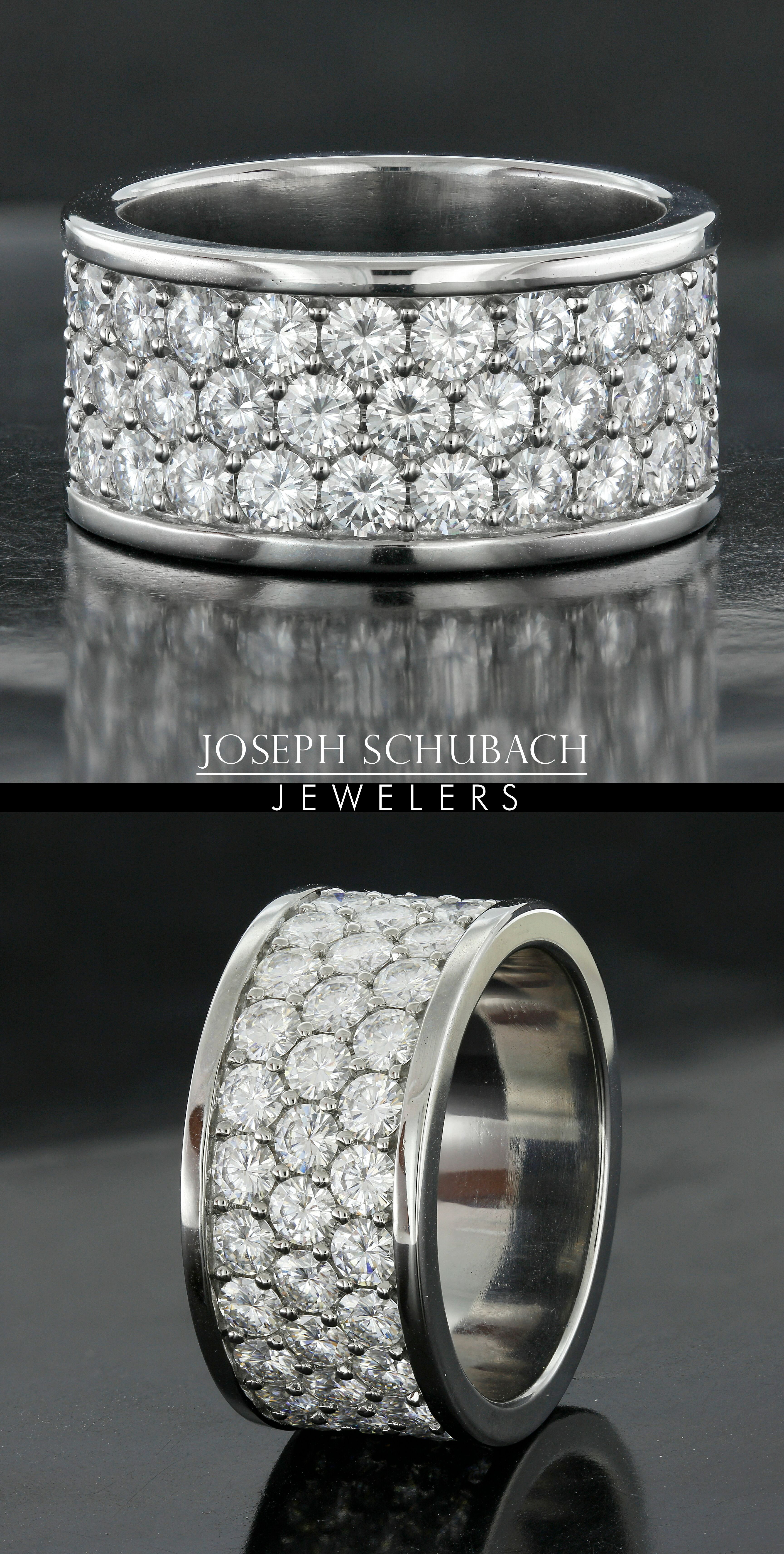 Stainless Steel Ring with Diamonds