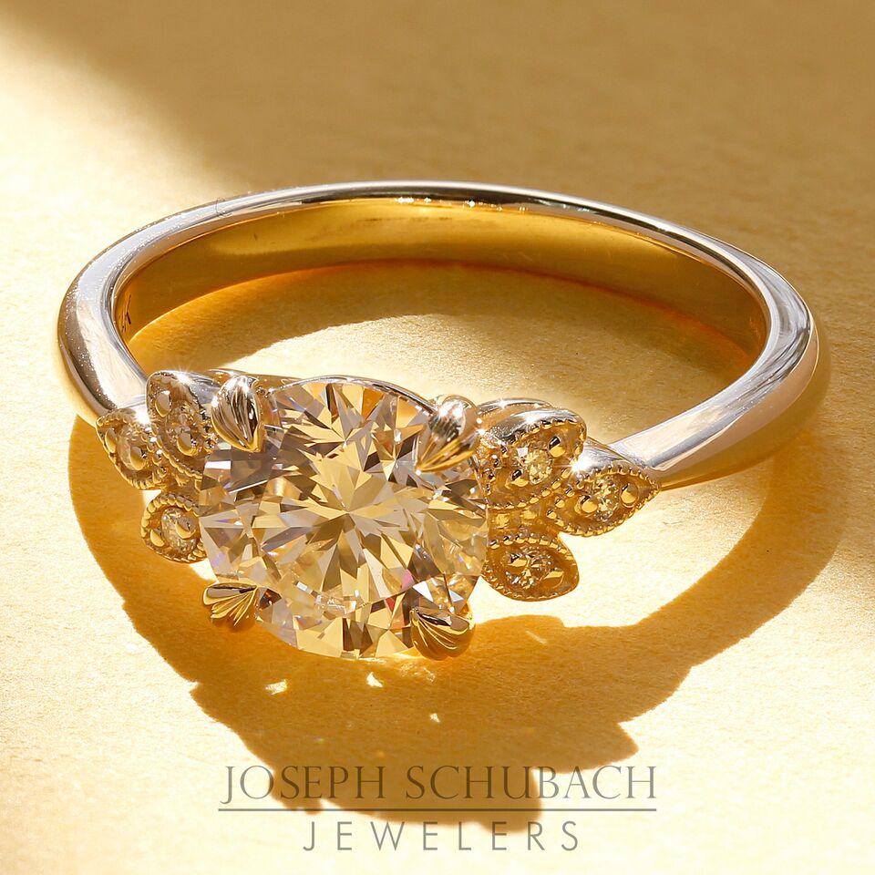 Custom Design Leaf Engagement Ring - Setting