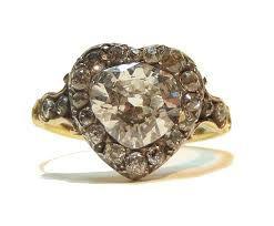 antique heart diamond engagement ring