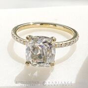 Radiance® Old Mine Cut Yellow Gold Pave Engagement Ring - 2