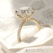 Radiance® Old Mine Cut Yellow Gold Pave Engagement Ring - 3